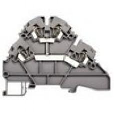 Клеммник 2-х ярусный пружинный, 2,5 мм.кв., c внутр.перемычкой, (серый); YBK2,5-2FK