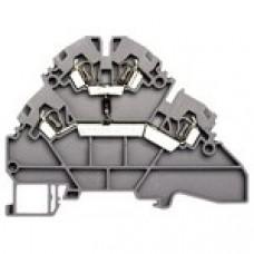 Клеммник 2-х ярусный пружинный, 2,5 мм.кв., с диодом, (бежевый); YBK2,5-2FD-A