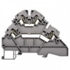Клеммник 2-х ярусный пружинный, 2,5 мм.кв. (серый); YBK2,5-2F