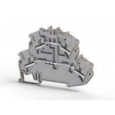 Клеммник 2-х ярусный пружинный быстрозажимной (Push in), 4 мм.кв. (серый); PYK4-2F