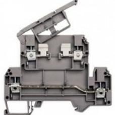 Клеммник 2-х ярусный с держ. предохр. (5х20, 5х25) на DIN-рейку, 4 мм.кв., (серый); AVK 4FS