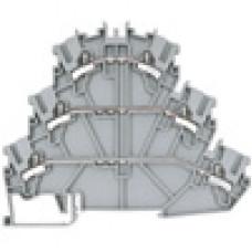 Клеммник 3-х ярусный пружинный быстрозажимной (Push in), 2,5 мм.кв. (серый); PYK2,5-3F