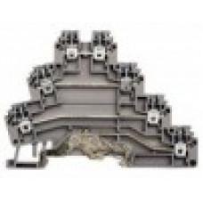 Клеммник 3-х ярусный с контактом на рейку, 2,5мм.кв., (бежевый); PUK 3Т