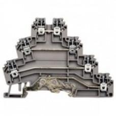 Клеммник 3-х ярусный с контактом на рейку, 2,5мм.кв., (серый); PUK 3Т