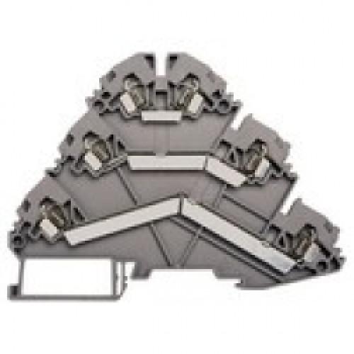 Клеммник пружинный 3-х ярусный, 2,5мм.кв., (серый); YBK 2,5-3 F 324509