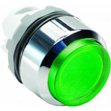 Кнопка MP3-21G зеленая выступающая (только корпус) с подсветкой без фиксации