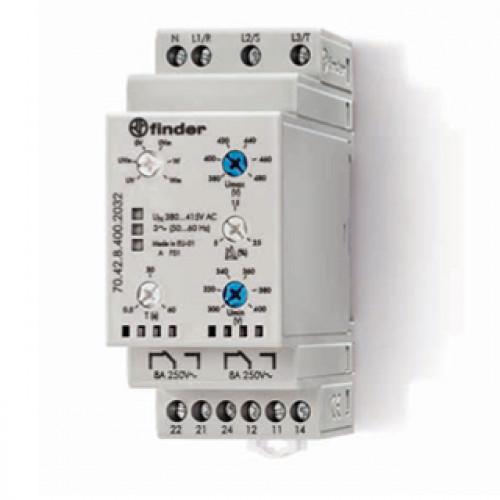 Контрольное реле для 3-фазных сетей; пониженное/повышенное напряжение, обрыв/чередование/асимметрия фаз, контроль нейтрали, настраиваемые диапазоны; выход 2CO 8А; 704284002032
