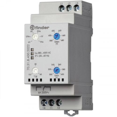 Контрольное реле для 3-фазных сетей; пониженное/повышенное напряжение, обрыв/чередование фаз, настраиваемые диапазоны; выход 1CO 6А; 703184002022
