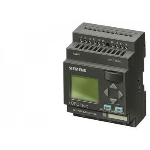 LOGO! 24RC,LOGIC MODULE,DISPLAY PU/I/O: 24V UC/24V UC/RELAY, 8 DI/4 DO; MEM. 200 BLOCKS, EXPANDABLE 6ED10521HB000BA6