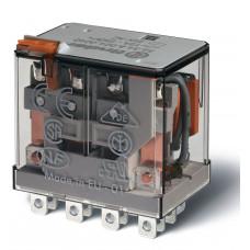 Миниатюрное силовое электромеханическое реле; 4CO 12A;  катушка 12В АC;опции: кнопка тест + мех.индикатор