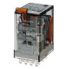 Миниатюрное универсальное электромеханическое реле;  4CO 7A;  катушка 220B DC;опции: кнопка тест + мех.индикатор;