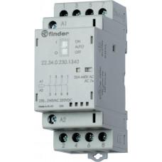 Модульный контактор; 4NO 25А;  катушка 24В АС/DC; опции: переключатель Авто-Вкл-Выкл + мех.индикатор + LED