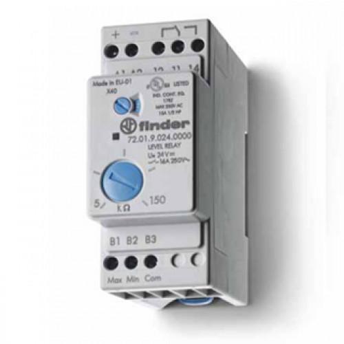 Реле контроля уровня; настраиваемый диапазон чувствительности 5…150кОм; питание 125В AC; выход 1CO 16А; модульное, 720181250000