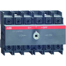 Реверсивный рубильник OT125F3C до 125А 3-полюсный для установки на DIN-рейку или монтажную плату (без ручки)
