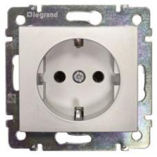 Розетка электрическая Legrand Valena с заземлением и шторками (алюминий)   770121