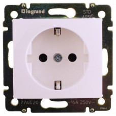 Розетка электрическая Legrand Valena с заземлением и шторками (белая)    774421