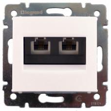 Розетка телефонная Legrand Valena RJ11 4 контакта 2 коннектора (белая)    774439