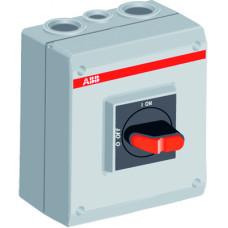 Рубильник в боксе OTP16T3M до 16А 3х-полюсный, 1НО доп. контакт, резьба 4хМ25+2хМ16