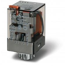 Универсальное электромеханическое реле;  2CO 10A;  катушка 12В DC;опции: кнопка тест + мех.индикатор