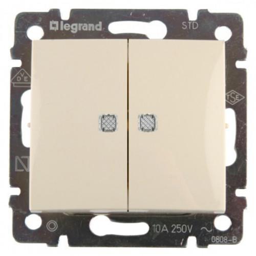 Выключатель двухклавишный с подсветкой (слоновая кость)  Legrand Valena 774328 774328